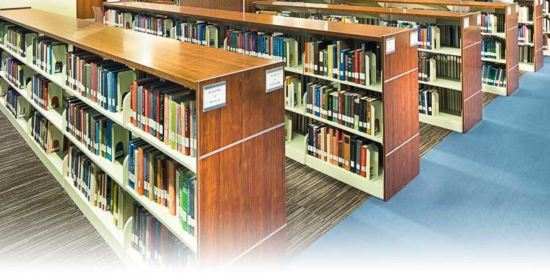 Background photo of library shelves