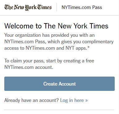 New York Times sign-up page
